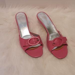 Versani pink leather slip on kitten heels size 10
